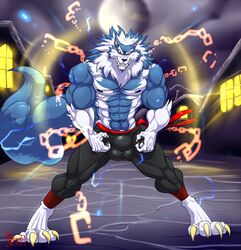 2018 4_toes 5_fingers abs anthro balls biceps blue_fur blue_hair blue_nose blue_skin bulge canine claws clothed clothing darkstalkers eyebrows flexing full_moon fur gloves_(marking) grin hair hungothenomster jon_talbain looking_at_viewer male male_only mammal mane markings moon multicolored_hair multicolored_skin muscular muscular_male muscular_thighs neck_tuft night nipples pants pecs penis_shaped_sbulge pubes sharp_teeth smile socks_(marking) solo standing teeth tight_clothing toes topless tuft two_tone_hair two_tone_skin video_games were werewolf white_hair white_skin yellow_eyes