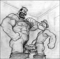 bluto duo erection frottage gay human male male/male muscles penis popeye popeye_(series)