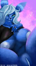 2018 5_fingers anthro big_breasts black_nose black_sclera blue_eyes blue_fur breasts clothed clothing eeveelution eyelashes female fur hair nintendo nipples partially_clothed pink_background pokémon_(species) pokémorph pokemon pussy ring seductive shirt signature simple_background spread_legs spreading t-shirt umbreon v-tal video_games watermark white_hair white_skin