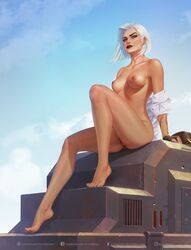 ashe_(overwatch) blizzard_entertainment breasts krysdecker overwatch pubic_hair red_eyes tagme white_hair