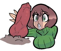 aliasing alpha_channel animal_genitalia animal_penis breasts brown_fur brown_hair canine_penis clothing disembodied_penis drooling duo eyelashes female fur green_eyes hair human human_focus interspecies jam_(artist) knot male male/female mammal open_mouth penis saliva sweater turtleneck_sweater wide_eyed
