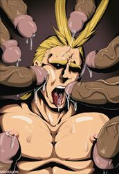 6+boys ahe_gao all_might bara blonde_hair drooling erection large_penis male_focus male_only multiple_boys my_hero_academia penis saliva tongue tongue_out