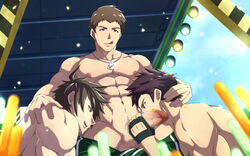 3boys abs bandage brown_hair erection fellatio gloves idol_master licking licking_lips multiple_boys muscle nipples oral pecs penis penis_gran public smile stage testicles tongue tongue_out topless undressing vudanshy yaoi