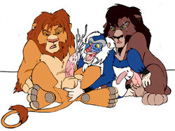 anal anal_fingering anal_sex balls colored cum cum_in_ass cum_inside cum_on_balls disney erection feline feral fingering furryrevolution group kovu lion male male/male mammal mandrill monkey penetration penis primate rafiki sex simba simple_background the_lion_king