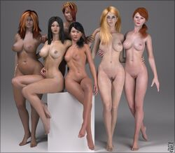 3d 6girls artist_name bare_shoulders barefoot big_breasts black_eyes black_hair blue_eyes brown_hair busty cleavage curvy dark-skinned_female dark_skin detailed_background erect_nipple erect_nipples eyelashes female female_only front_view group hair_over_one_eye hairy_pussy hand_on_hip hands_on_hip hands_on_hips hourglass_figure human long_hair looking_at_viewer multiple_females multiple_girls naked nude original_character ponytail pose posing pubes pubic_hair shadow shaved_pussy short_hair siliconaya sitting tied_hair voluptuous wide_hips