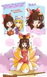 ! 2018 9_tails ? animal_humanoid animate_inanimate annoyed breasts broom brown_hair clothed clothing dialogue duo female fox_humanoid grin hair human human_to_humanoid human_to_inanimate humanoid inanimate_transformation kneeling mammal multi_tail open_mouth pussy reimu_hakurei rubber rubberfrills sequence sex_doll sex_toy_transformation smile surprise touhou transformation yukari_yakumo