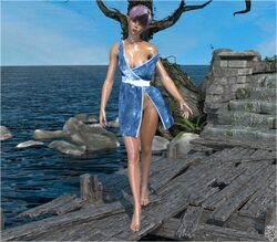 1girl 3d areola_slip artist_name bare_shoulders barefoot big_breasts black_hair blue_dress blue_eyes blue_hair busty curvy detailed_background dress elf eyelashes eyeshadow female female_only front_view hourglass_figure humanoid looking_at_viewer multicolored_hair original_character outdoor outside pointy_ears pose posing shadow shiny shiny_skin short_hair siliconaya standing text tree voluptuous water wide_hips