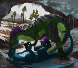 2018 3_fingers 3_toes 4_fingers anal anal_sex animal_genitalia animal_penis anus ass barefoot belly_scales big_dom_small_sub blue_penis blue_scales blue_tongue cave claws cold crouching day detailed_background dewclaw digital_media_(artwork) digital_painting_(artwork) dinosaur dirt dragon duo erection feathers feral feral_on_feral fingers foot_fetish footjob french_kissing furry_only garo_(garoshadowscale) genital_slit grass green_scales grinding hand_grab hand_holding hi_res hindpaw horn ice ice_cave kissing larger_feral larger_male licking long_neck looking_at_partner looking_pleasured love lying madness_demon male male/male male_penetrating markings membranous_wings missionary_position moan mountain no_humans nude on_back on_top open_mouth orgasm_face paws penetration penis plant purple_feathers purple_markings purple_penis purple_tongue quadruped raised_leg raptor reptile ridged_penis ridges rock romantic romantic_couple scales scalie sex shaded shadow shrub side_view size_difference slit smaller_feral smaller_male smile snout snow soles spread_legs spread_toes spreading standing stripe stripes tail_sex teal_scales teeth theropod thick_thighs toe_claws toes tongue tongue_out torogao tree tundra western_dragon wings yellow_eyes zhaarek