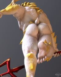 2018 3d_(artwork) anus asgore_dreemurr cape caprine clothing digital_media_(artwork) goat horn king kreic low-angle_view male mammal melee_weapon nipples overweight pink_anus plantigrade polearm royalty solo trident undertale video_games weapon