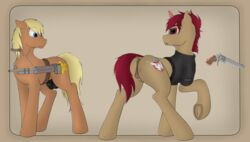 anatomically_correct animal_genitalia animal_penis animal_pussy anus balls bent_over clitoris clothed clothing cutie_mark duo earth_pony equine equine_penis fan_character female gun hi_res horn horse legwear looking_back looking_down male mammal my_little_pony nipples penis pony pussy ranged_weapon scar simple_background themadsurgeon underhoof unicorn weapon
