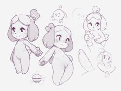 2018 animal_crossing anthro balls bedroom_eyes breasts canine canine collage erection faceless_male female flat_chested half-closed_eyes handjob hi_res isabelle_(animal_crossing) kekitopu low-angle_view male male/female mammal monochrome navel nintendo nipples nude penis precum pussy seductive sex shih_tzu sketch smile spread_legs spreading video_games