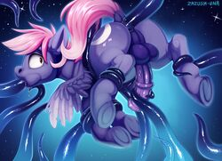 2018 anal anal_sex balls cutie_mark digital_media_(artwork) equine fan_character feathered_wings feathers hooves male mammal my_little_pony oral pegasus penetration penis solo tentacle wings zazush-una