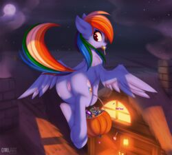 2018 anus ass equine female friendship_is_magic halloween holidays mammal my_little_pony omiart pegasus presenting presenting_hindquarters pussy rainbow_dash_(mlp) wings