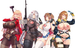 blonde_hair bodysuit breasts brown_hair censored cleavage condom erect_nipples girls_frontline gloves gray_hair grizzly_mkv_(girls_frontline) gun long_hair mk_23 nipples pk_(girls_frontline) ptrd-41_(girls_frontline) scarf shorts stockings sunglasses thighhighs weapon yui.h