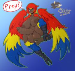 2018 absurd_res animal_humanoid ass avian avian_humanoid balls big_breasts biped blue_eyes breasts dark_skin dickgirl digital_drawing_(artwork) digital_media_(artwork) erection feather_hair feathered_wings feathers full-length_portrait harpy hi_res honky_kat huge_breasts humanoid intersex multicolored_feathers nipples nude open_mouth penis portrait precum scales simple_background smile solo sweat talons teeth text thick_thighs tongue uncut voluptuous wide_hips winged_arms wings