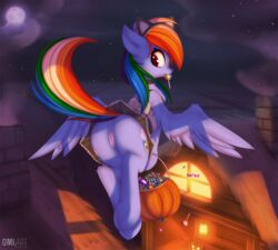 2018 anus ass clothing equine female friendship_is_magic halloween holidays mammal my_little_pony omiart pegasus presenting presenting_hindquarters pussy rainbow_dash_(mlp) wings