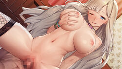 1boy 1girl areolae artwhirl_mahou_gakuen_no_otome-tachi blonde_hair blue_eyes blush breasts breasts_apart censored cowgirl_position dmm female fishnet_legwear fishnets groin happy happy_sex highres indoors large_breasts legs long_hair lying mosaic_censoring navel nipples nude one_eye_closed original parted_lips penis pussy self_fondle sex sitting sitting_on_person smile solo_focus straddling sweat thighs vaginal_penetration