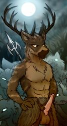 animal_genitalia animal_penis anthro balls canine captainzepto cervine clothing erection forest fur group hircine_(elder_scrolls) hybrid loincloth looking_at_viewer male mammal melee_weapon moon muscular muscular_male penis polearm pose solo_focus spear the_elder_scrolls tree video_games weapon