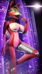 2018 3d_(artwork) animatronic anthro breasts canine digital_media_(artwork) doctorpurple2000 eye_patch eyewear female five_nights_at_freddy's fox foxy_(fnaf) hi_res looking_at_viewer machine mammal nipples nude open_mouth pussy robot sharp_teeth solo source_filmmaker standing teeth tongue tongue_out video_games