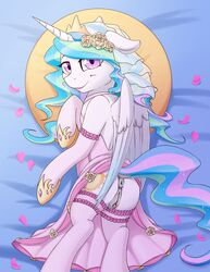 alicorn anus armwear ass clitoral_winking clitoris clothing cutie_mark digital_media_(artwork) dock equine fearingfun feathered_wings feathers female friendship_is_magic hi_res horn legwear looking_at_viewer mammal my_little_pony petals princess_celestia_(mlp) pussy smile solo wings