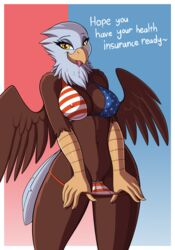 2018 absurd_res anthro avian bald_eagle beak bikini bird breasts brown_feathers clothing dialogue digital_media_(artwork) drako1997 eagle english_text eyelashes feathered_wings feathers female flag_bikini healthcare_eagle hi_res looking_at_viewer navel nipple_bulge non-mammal_breasts pussy solo swimsuit text tongue tongue_out united_states_of_america white_feathers wings yellow_beak yellow_eyes