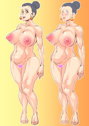 1girl abs adult bare_shoulders barefoot big_breasts bimbo black_hair blush brown_eyes busty censored chichi cleavage curvy dragon_ball dragon_ball_z ear_piercing earrings erect_nipple erect_nipples eyelashes female female_only front_view hair_bun hourglass_figure human looking_at_viewer looking_back makeup mature milf mother naked nude open_mouth piercing pose posing short_hair simple_background sketch smiling solo solo_female sweat tied_hair voluptuous wide_hips zxcv