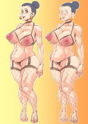 1girl abs adult bare_shoulders big_breasts bimbo black_hair blush brown_eyes busty censored chichi choker cleavage curvy dragon_ball dragon_ball_z ear_piercing earrings erect_nipple erect_nipples eyelashes female female_only fishnet fishnet_stockings footwear front_view garter garter_straps hair_bun hourglass_figure human legwear lingerie looking_at_viewer looking_back makeup mature midriff milf mother open_mouth piercing pose posing see-through short_hair simple_background sketch smiling solo solo_female stockings sweat thong tied_hair voluptuous wide_hips zxcv