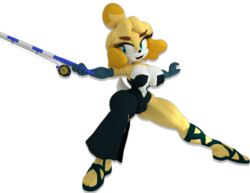1girl 3d animal_crossing animal_ears anthro bare_shoulders big_breasts black_dress blonde_hair blue_eyes blue_gloves busty cleavage curvy dress eyelashes female female_only front_view furry gloves holding_object hourglass_figure humanoid isabelle_(animal_crossing) lowkeydiag mammal open_mouth pose posing room sandals shiny shiny_skin short_hair simple_background solo solo_female spread_legs spreading standing video_game video_games voluptuous white_background wide_hips yellow_skin