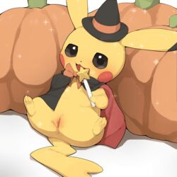 1girl :3 anus black_cape black_eyes black_hat black_sclera blush blush_stickers bow bowtie cape clitoris clothed female female_only feral flat_chest full_body furry game_freak hands_up hat highres holding looking_at_viewer nintendo no_humans no_nipples open_mouth orange_neckwear pikachu pokemon pokemon_(creature) pokemon_rgby pumpkin pussy sitting smile solo sparkle spread_legs star uncensored wand wide_hips witch_hat youjomodoki