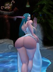 blue_hair bubble_butt lifting_dress looking_at_viewer looking_over_shoulder night_elf pinup presenting_hindquarters warcraft world_of_warcraft