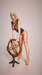 3d barefoot blonde_hair bottomless female_only keira_metz niodreth pinup solo the_witcher the_witcher_3 the_witcher_3:_wild_hunt