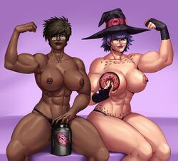 2girls abs biceps blue_eyes breasts brown_eyes brown_hair dark-skinned_female dark_skin donut_witch_(7starsoul) female female_only fingerless_gloves flexing glasses gloves hat large_breasts looking_at_viewer muscular_female musica_maxwell_(7starsoul) navel_piercing nipples piercing pose purple_hair tattoo thong wink witch witch_hat yoki yokimura