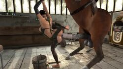 3d anal anal_sex animal_genitalia animated animopron breasts female horse horsecock no_sound penetration presenting spread_legs tagme tied_up webm