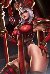 big_breasts breasts cleavage dandon_fuga female female_only heroes_of_the_storm large_breasts looking_at_viewer sally_whitemane solo thighhighs world_of_warcraft