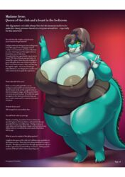 5_fingers 5_toes anthro areola ass belly big_areola big_breasts big_butt big_lips breasts brown_hair chemise claws cleavage clothed clothing colored_nails crocodile crocodilian deep_navel dialogue english_text female fingers green_skin grin hair hair_over_eye half-closed_eyes huge_breasts huge_butt irene_(vdisco) lips looking_at_viewer mature_female navel nipple_bulge nipples non-mammal_breasts obese obese_female orange_eyes overweight overweight_female pussy reptile scalie seductive sharp_teeth short_hair skimpy smile solo standing teeth text thick_thighs toes translucent transparent_clothing vdisco voluptuous wide_hips yellow_sclera
