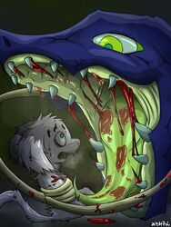 blood fear fur green_background green_eyes imminent_vore long_ears mammal misoden_(artist) open_mouth sharp_teeth simple_background tapering_tongue teeth tongue tongue_out unknown_species vore white_fur yellow_eyes