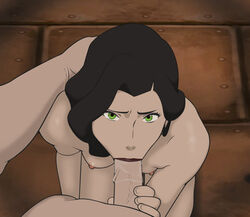 anaxus asami_sato avatar_the_last_airbender black_hair breasts dungeon fellatio female green_eyes holding_head holding_penis long_hair looking_at_viewer looking_up male naked nickelodeon nipples on_knees oral penis pleasure_face saliva_on_penis small_breasts standing sucking the_legend_of_korra