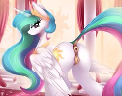 2018 absurd_res alicorn animal_genitalia animal_pussy anus ass cutie_mark digital_media_(artwork) dock equine equine_pussy eyelashes female feral friendship_is_magic hi_res horn looking_at_viewer mammal my_little_pony nevobaster princess_celestia_(mlp) pussy solo wings