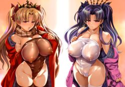 2girls bare_shoulders big_breasts black_hair blonde_hair blush busty cleavage cloak crown curvy detailed_background ear_piercing earrings erect_nipple erect_nipples ereshkigal_(fate/grand_order) eyelashes fate/grand_order fate_(series) female female_only front_view hoop_earrings hourglass_figure human ishtar_(fate/grand_order) kawaraya_a-ta leotard long_hair looking_at_viewer multiple_females multiple_girls nipple_bulge open_mouth piercing pose posing red_eyes scarf see-through shiny shiny_skin siblings sister sisters standing sweat thong tohsaka_rin voluptuous wide_hips yellow_hair