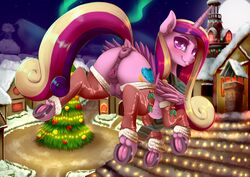 2017 alicorn anatomically_correct anatomically_correct_anus anatomically_correct_pussy animal_genitalia animal_pussy anus ass blush christmas christmas_tree clitoral_winking clitoris clothing cutie_mark dankflank equine equine_pussy feathered_wings feathers female feral friendship_is_magic hair holidays hooves horn legwear long_hair looking_at_viewer mammal multicolored_hair my_little_pony nipples outside presenting presenting_anus presenting_pussy presenting_teats princess_cadance_(mlp) pussy raised_tail solo teats tree underhoof wings