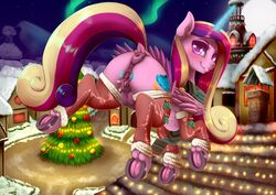 2017 alicorn anatomically_correct anatomically_correct_anus anatomically_correct_pussy animal_genitalia animal_pussy anus ass blush christmas christmas_tree clitoris clothing cutie_mark dankflank equine equine_pussy feathered_wings feathers female feral friendship_is_magic hair holidays hooves horn legwear long_hair looking_at_viewer magic mammal multicolored_hair my_little_pony outside princess_cadance_(mlp) pussy pussy_juice solo spread_pussy spreading teats tree underhoof wings
