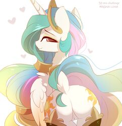 2018 alicorn crown cutie_mark equine feathered_wings feathers female feral friendship_is_magic hair heart horn jewelry long_hair looking_at_viewer looking_back magnaluna mammal multicolored_hair my_little_pony necklace princess_celestia_(mlp) pussy solo wings