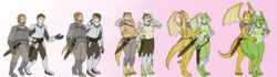 2017 annoyed anthro armor ass big_breasts breast_growth breasts clothed clothing dragon duo female gender_transformation human human_to_anthro lactating male mammal melee_weapon mostly_nude mtf_transformation navel nipples pregnant prurientpie pussy simple_background smile surprise sword tail_growth transformation walking weapon wide_hips