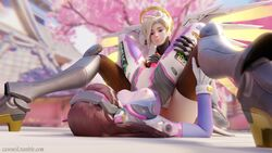 2girls 3d absurdres areolae blender breasts cawneil d.va dildo female female_only highres mercy nipples overwatch pussy sex_toy yuri