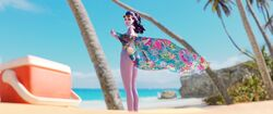 3d absurdres alternate_costume ass blender breasts cawneil cleavage cote_d'azur_widowmaker female female_only highres looking_at_viewer looking_back overwatch pinup solo widowmaker
