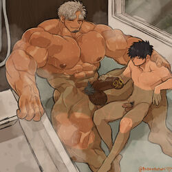 2boys abs bara bathing bathtub black_hair gray_hair grey_hair large_eyebrows marototori muscles muscular muscular_male nude pecs penis pubic_hair size size_difference smile sweat wet yaoi