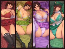 4girls brown_hair dead_or_alive dead_or_alive_5 hitomi hitomi_(doa) huge_breasts ibanen kokoro lei_fang mila mila_(dead_or_alive) underwear