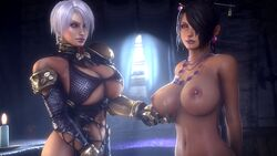 2girls areolae big_breasts breasts cleavage female female_only final_fantasy final_fantasy_x isabella_valentine large_breasts looking_at_viewer lulu_(final_fantasy) nipples noname55 soul_calibur source_filmmaker