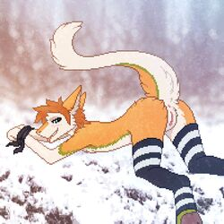 2019 anthro anus ass ass_up blue_eyes blush bound brown_fur brown_hair clothing dagny digital_media_(artwork) digitigrade female flat_chested forest fur fuzzled green_fur hair hands_tied legwear looking_at_viewer mostly_nude outside pawpads pixel_(artwork) presenting presenting_hindquarters presenting_pussy pussy raised_tail sergal smile snow snowing solo stockings stripes teeth tongue tree white_fur winter