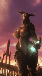 1girl 3d anthro anthrofied bottle breasts collar deathclaw fallout fallout_4 female female_only glowing grass green_skin horn horns huge_breasts lamoz571 large_ass looking_at_viewer nipples nude outdoors pink_eyes pussy scalie solo source_filmmaker standing teeth text todd_howard watermark